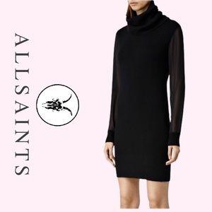 Black All Saints Milo Funnel Sweater Dress